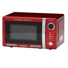 Nostalgia Electrics Retro Series 0 9 Cu Ft Countertop Microwave In Red