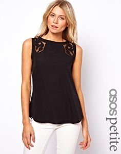 Image 1 ofASOS PETITE Exclusive Vest With Lace Insert And Dip Back