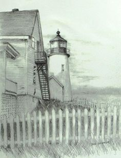 Pemaquid lighthouse by Jack Skinner Lighthouse Sketch, Lighthouse Art, Landscape Drawings, Cool Landscapes, Watercolor Sketch, Watercolor Paintings, Monuments, Pencil Drawings, Art Drawings