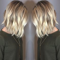 short blonde lob balayage waves