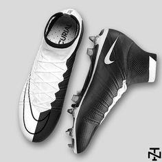 The black and white Nike Mercurial Superfly Concept Boots boast a classy half-and-half design.