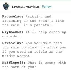 Hogwarts students listening to the rain