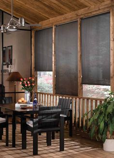 Beautiful outdoor solar/roller shades available at Steve's Blinds & Wallpaper.