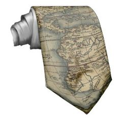 Mens Ties Vintage World Map Artwork Neck Tie Fantastic Neckwear For Man