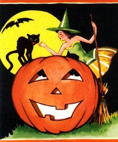 Tickle me Black Cat--Vintage Halloween Bridge Tally