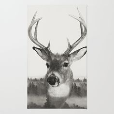 Whitetail Deer Black and White Double Exposure Area & Throw Rug
