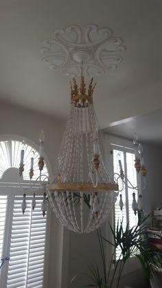 Copyrighted design by Sherry Haydel Ltd, NOLA. Custom Ceiling Medallion & treatment for chandelier.