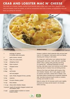 Marketplace IGA Newsletter: Crab and Lobster Mac n' Cheese