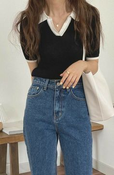Hippie Outfits, Preppy Outfits, Retro Outfits, Cute Casual Outfits, Fashion Outfits, Casual Clothes, Korean Girl Fashion, Look Fashion, Soft Grunge Outfits