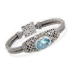 """Ross-Simons - Balinese 14.00 Carat Blue Topaz Bracelet in Sterling Silver With Gold Plate. 7"""" - #770090"""