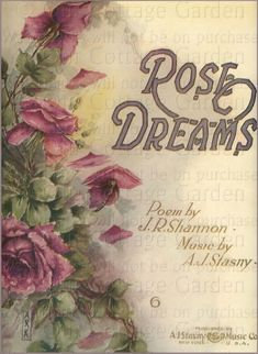 4 Antique Sheet Music Covers * All ROSES! | Our Cottage Garden