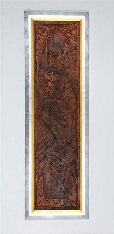Relief wood carvings panels made by design by Alphonse Mucha (1860-1939). <br>  <br> Titles of works: Waking up of the morning, Glow of the day, Evening dream, Night rest <br>  <br> Datace: circa 1899 <br>  <br> Technique: carving into fruit wood <br>  <br> Dimensions without frames: 148 x 40 cm <br>  <br> Status: framed, conserved, backside without interference <br>  <br> Provenance: Private collection of Ivančic,  auct...