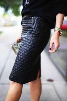 Quilted Leather Pencil Skirt