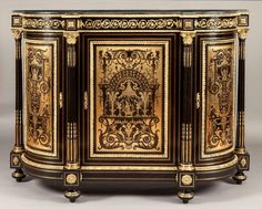 Andres-Charles Boulle (1642 - 1732) A Magnificent Antique Boulle Side Cabinet of Exhibition Quality