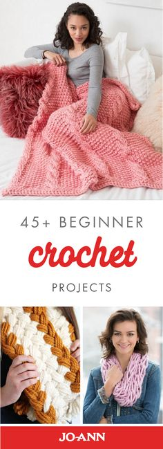 Crochet Afghans Ideas Learn to craft your very own homemade blankets, scarves, and holiday decorations with these 45 Beginner Crochet Projects from Jo-Ann. Plus, these DIY crafts would make great holiday gift ideas, too! Beginner Crochet Projects, Knitting Projects, Sewing Projects, Diy Crochet For Beginners, Beginners Sewing, Yarn Projects, Loom Knitting, Knitting Patterns, Crochet Patterns