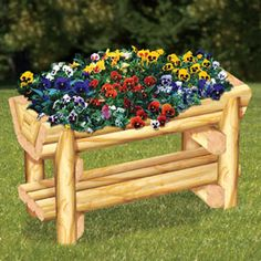 "Landscape Timiber Trough Planter Plan. Simple design yet attractive for any yard, patio or deck. 29""T x 48""W x 21""D Plan #2350  $12.95  ( crafting, crafts, woodcraft, pattern, woodworking, yard art, landscape timber, planter ) Pattern by Sherwood Creations"