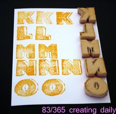 """Project """"365 - creating daily"""" day 83: K-O stamps  Anke Humpert 3/2014  #365creatingdaily"""
