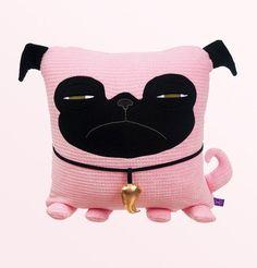Pug Decorative Pillow by velvetmoustache on Etsy