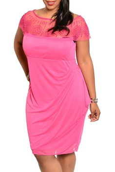 Fuchsia Plus Size Sexy Fitted Sheer Mesh Beaded Party Dress