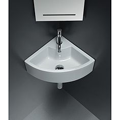 @Overstock - Wall-mount corner ceramic sink with overflow and one pre-drilled faucet hole. Optional with curved towel bar in polished chrome finish.  Towel bar sold separately. Faucet, p-trap and drain not included. Shown only for photographic purposes http://www.overstock.com/Home-Garden/Bissonnet-ICE-Corner-Ceramic-Bathroom-Sink/6730725/product.html?CID=214117 384.00