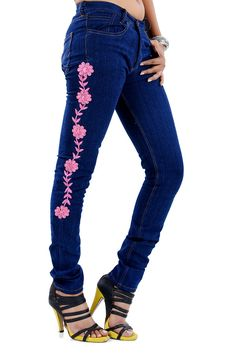 Jaltee gives an ethnic touch to western wear with its pink embroidered jeans. Comfortable and trendy, this pair of glowing jeans will set you apart from the crowd. Electroluminescent wire or EL wire added jeans Electroluminescent Wire, Embroidered Jeans, Western Wear, Crowd, Ethnic, Skinny Jeans, Touch, Pairs, Clothing