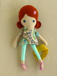 Fabric Doll Rag Doll Red Haired Girl in Colorful by rovingovine