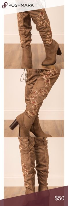Over the knee boots Gorgeous suede over the knee boots. Style is Nashville nights. Inside zipper. Floral detail. Size 7. Would look amazing with jeans and a plain blouse. No trades. Price is firm, unless you bundle with two or more items for 10% off. Shoes Over the Knee Boots