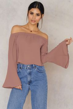 0b26b6f9fe The Off Shoulder Woven Wide Sleeve Top by NA-KD