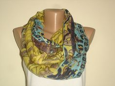 Multicolor Infinity Scarf   Brown Gold Yellow Green by cocoshwoman, $22.00