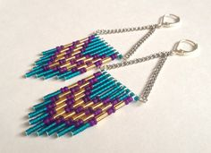 Purple and Teal Double Chevron Earrings by OliveTreeHandmade, #beadwork