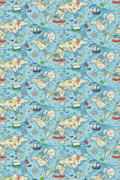 Treasure Map Sea Blue (223914) - Sanderson Fabrics - Set sail on an adventure! A thrilling fabric design featuring all the wonders of the world. Where will it take you? Shown here in a sea blue colourway. Other colourways are available. Please request sample for true colour and texture match.