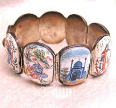 Reserved for Tanya Vintage Persian Picture Story Bracelet. Highly Detailed Enamel on Silver.
