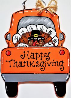 "Great Photos HAPPY THANKSGIVING Turkey TRUCK Wall Art Sign Door Hanger Fall Autumn Plaque Handcrafted Hand Painted Wood Wooden Decor Door Hanger Suggestions Your individual door hanger Sure, the classic is of course the door pendant, where on the front ""d Halloween Door Hangers, Fall Door Hangers, Burlap Door Hangers, Wooden Door Signs, Wooden Decor, Wooden Plaques, Wooden Blocks, Happy Thanksgiving Turkey, Thanksgiving Decorations"