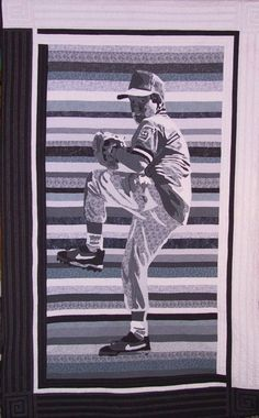 Baseball by Cathy Wiggins.  Custom quilt by Cathy Wiggins, The Quilter's Spirit