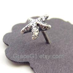 Starfish cartilage earrings cartilage stud earrings, tragus earrings, nose rings stud, ONE single stud. $30.50, via Etsy.