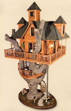 Her treehouse has a wraparound porch, three observation towers, a dining deck and is reached by three spiral staircases. The tree is approximately 5 feet ...