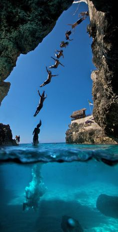 Cliff Diving, Negril, Jamaica - One of the most beautiful Beaches in the world! And don't miss out on the Cliff Diving at Rick's Cafe! Night life is pretty awesome too! Cliff Diving, Cliff Jump, Sea Diving, High Diving, Diving Suit, Swimming Diving, Negril Jamaica, Cancun, Summer Bucket Lists