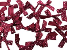50pcs dark red polka dots satin ribbon butterfly bow sewing applique scrapbooking craft DIY wedding decoration embellishment, 1.5'x1.5' inches *** You can get more details by clicking on the image.