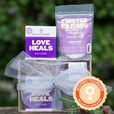 Love Heals Lavender Candle & Bath Salt $28 Lavender candle and bath salts combo is great for a mom that needs to spend some time relaxing and unwinding. Learn more about Thistle Farms HERE!