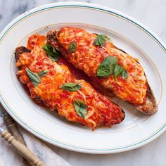 Scamorza melted obligingly into sauce over toast