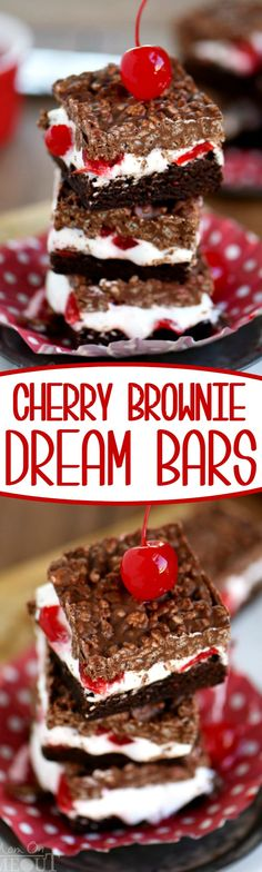Cherry Brownie Dream Bars are sure to become your new favorite thing! Layers of brownie, marshmallow, and a crunchy topping are impossible to resist! // Mom On Timeout Mini Desserts, Chocolate Desserts, Just Desserts, Delicious Desserts, Oreo Dessert, Dessert Bars, Brownie Recipes, Cookie Recipes, Marshmallow Recipes
