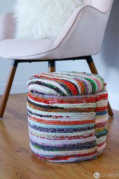 very cool and stylish DIY rag rug and bucket footstool #diyragrugupcycle #diyragrugclothes