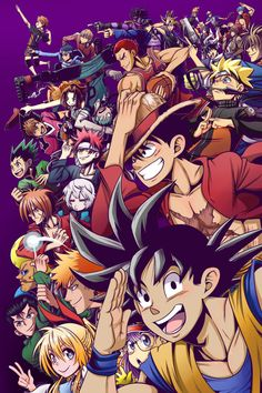 A group action shot of several main characters from Shonen Jump series. Won the Shonen Jump 2016 cover contest! Anime Naruto, Manga Anime, Fanarts Anime, Otaku Anime, Ps Wallpaper, Naruto Wallpaper, Wallpaper Space, Anime Crossover, Bleach Anime