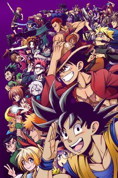 A group action shot of several main characters from Shonen Jump series. Won the Shonen Jump 2016 cover contest! Anime Naruto, Otaku Anime, Manga Anime, Bleach Anime, Anime Crossover, Cartoon Cartoon, All Anime Characters, Japon Illustration, Anime Kunst