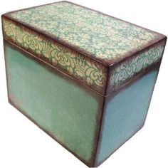 Recipe Box, Handmade, Decoupage, Teal Damask, Wood Box, Holds 4x6 Cards by Gifts and Talents