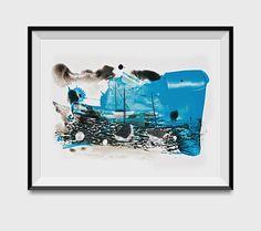 Abstract Seascape, 'Low Tide', Art Print, Mixed Media and Acrylics, light blue, Marine art, Modern Wall decor,