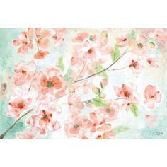 Watercolor Blossoms Landscape Canvas Art - Tre Sorelle Studios (12 x 18)