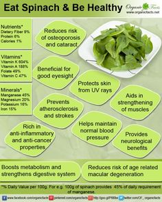 Health benefits of spinach include improved eyesight, healthy blood pressure, stronger muscles, prevents age-related macular degeneration (AMD), cataracts, atherosclerosis, heart attacks, neurological benefits, bone mineralization, anti-ulcerative and anti-cancerous benefits, skin protection, healthy fetal development and boosted growth for infants.