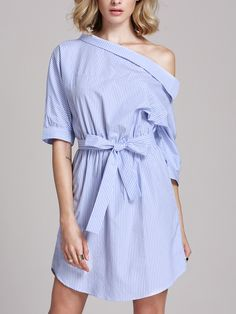 #AdoreWe #ROMWE Casual Dress - Designer ROMWE Blue Half Sleeve Off The Shoulder Striped Dress - AdoreWe.com