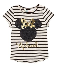 Camiseta con lentejulas | Beige claro/Minnie Mouse | Kids | H&M MX